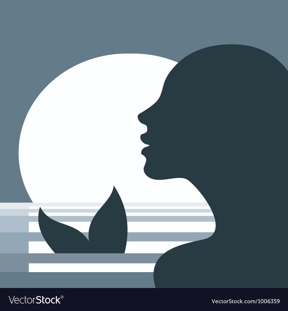 Mermaid in moonlight vector image