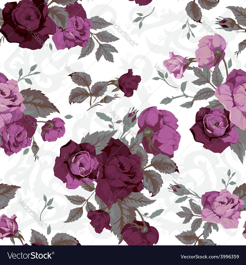 Seamless floral pattern with purple roses on white