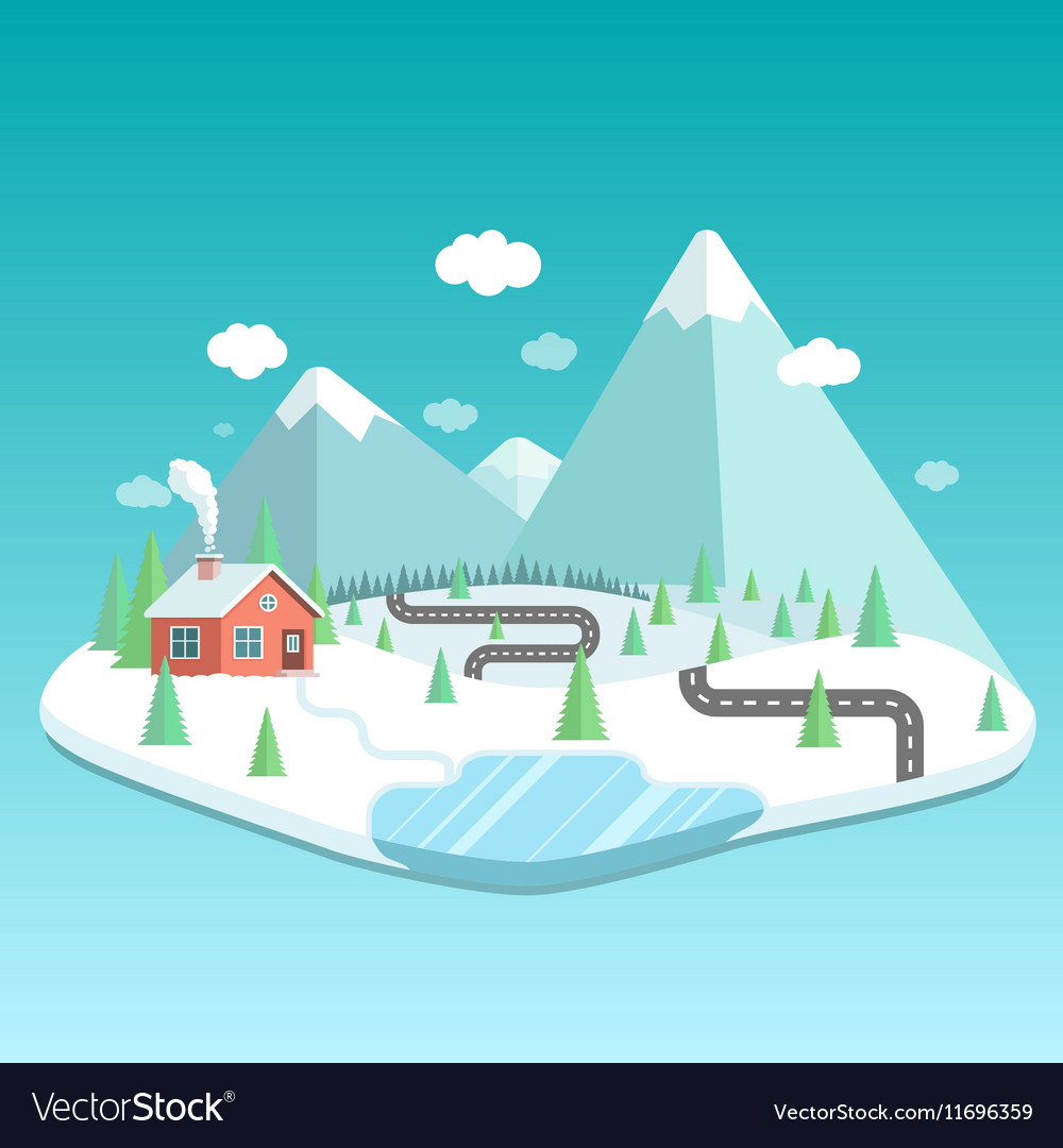Winter landscape with mountains forest and lake