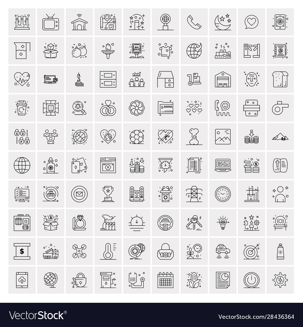 100 business icons universal set for web