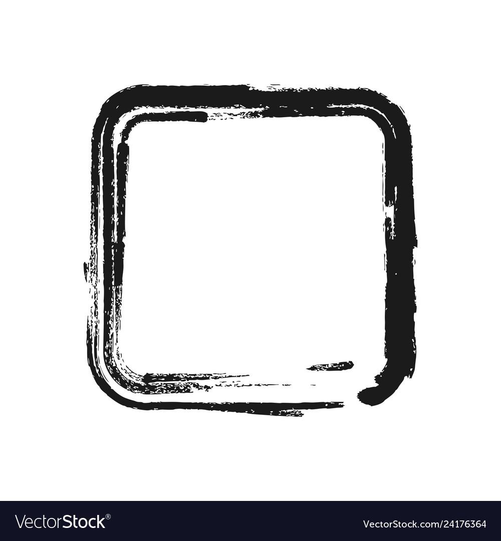 Black brush stroke in form square