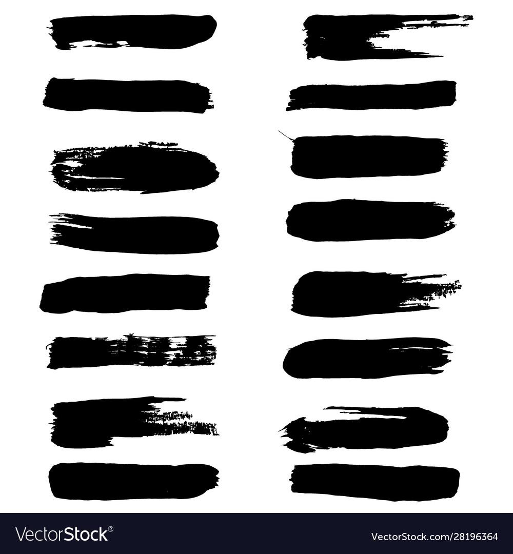 Black ink brush strokes set brush