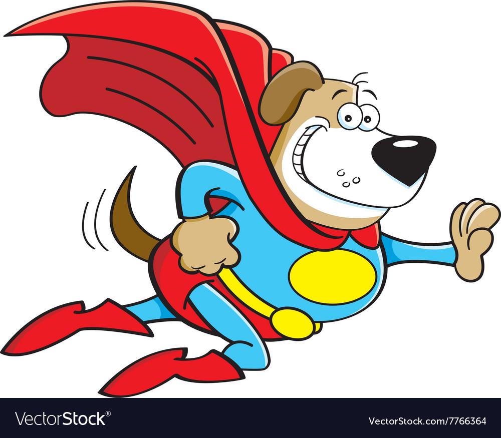 Cartoon dog dressed as a super hero