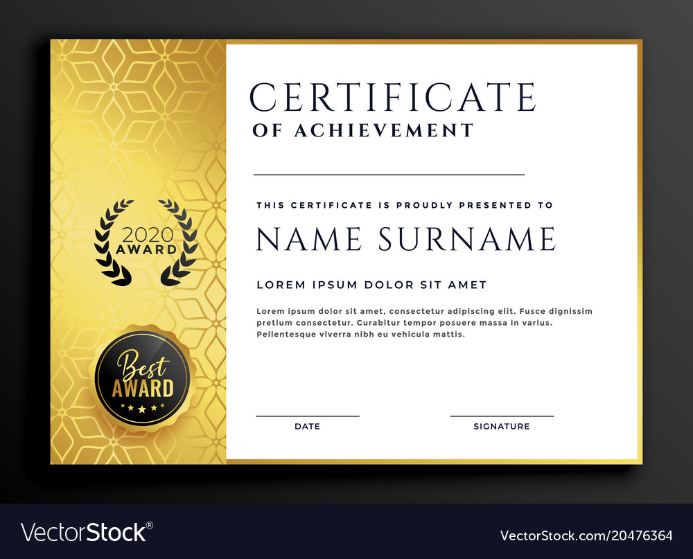 Certificate template design with luxury golden Vector Image