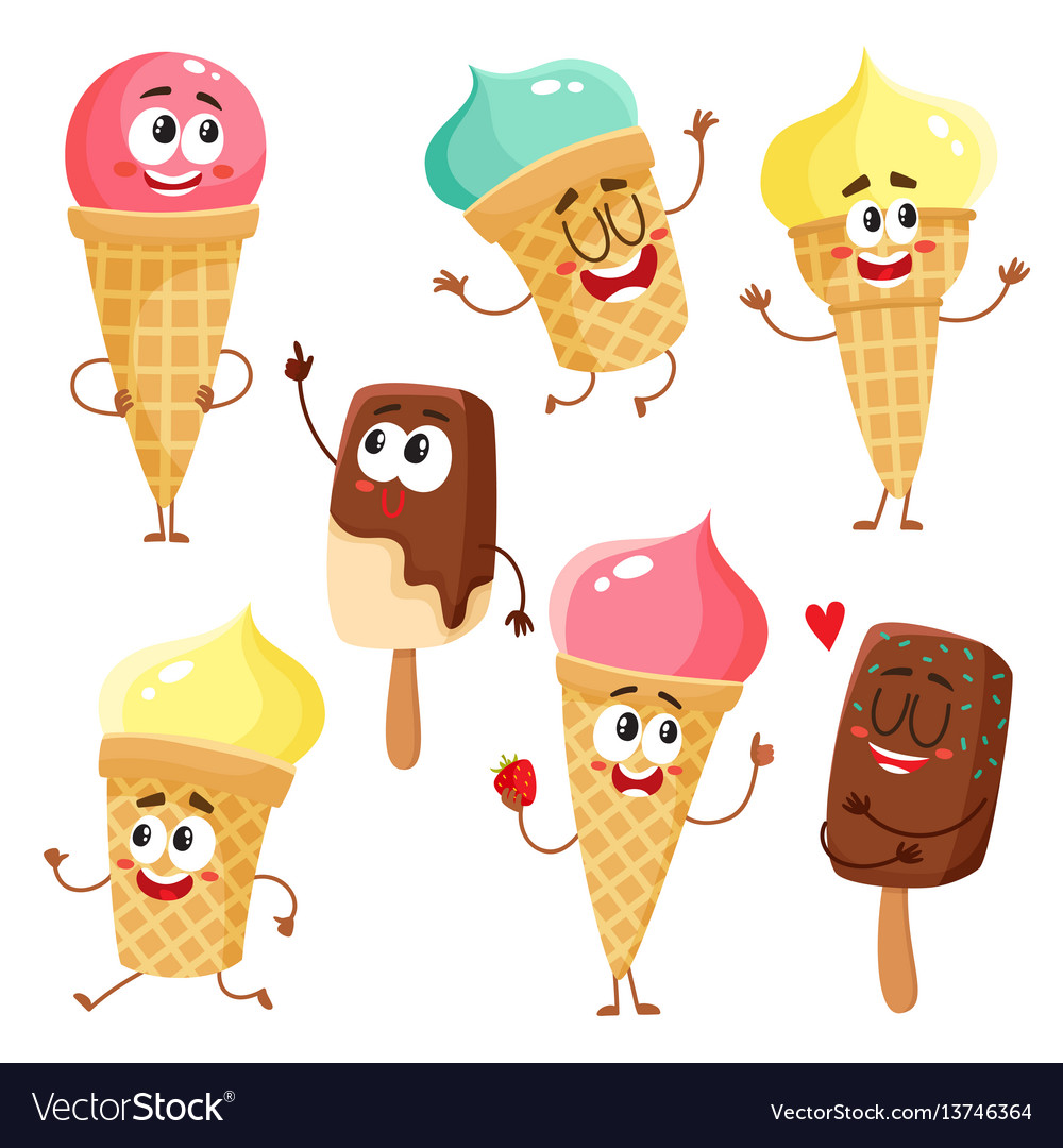 Funny ice cream characters cones popsicles with