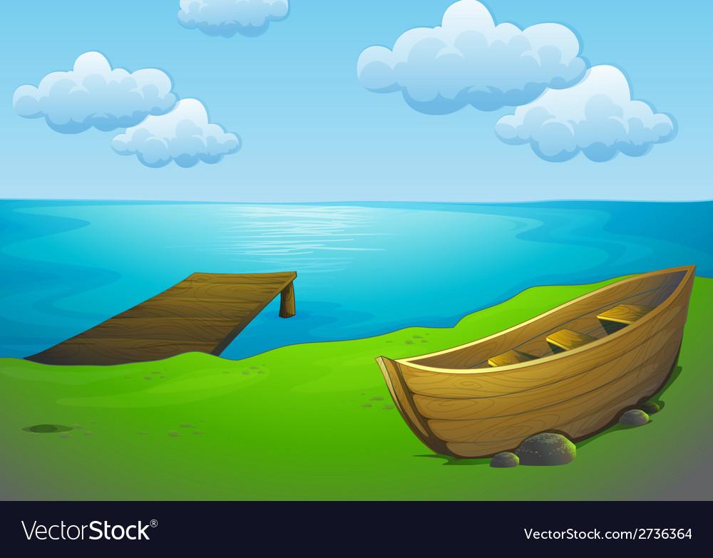 Lake and boat vector image