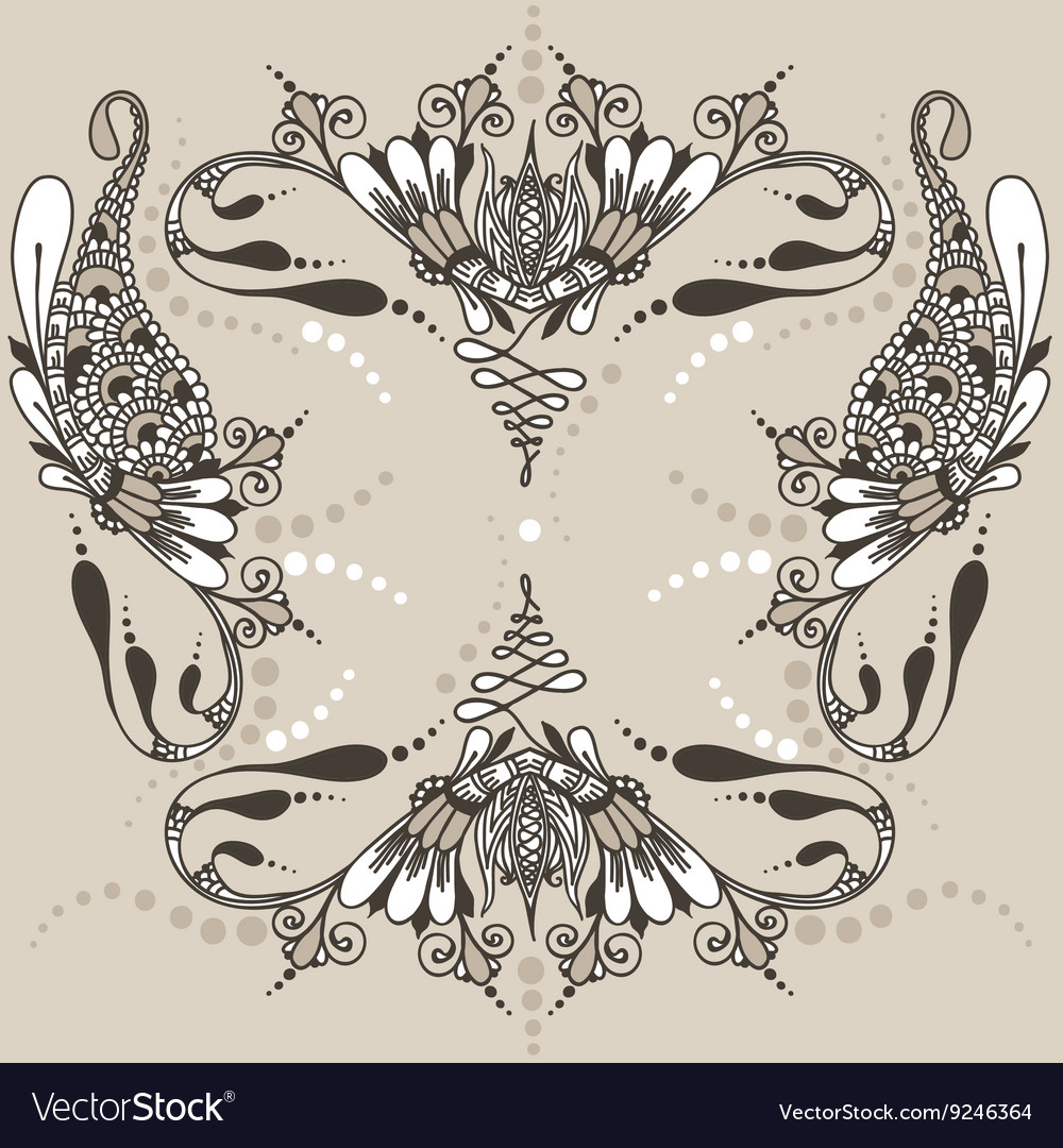 Mehndy Flowers Tattoo Template Royalty Free Vector Image