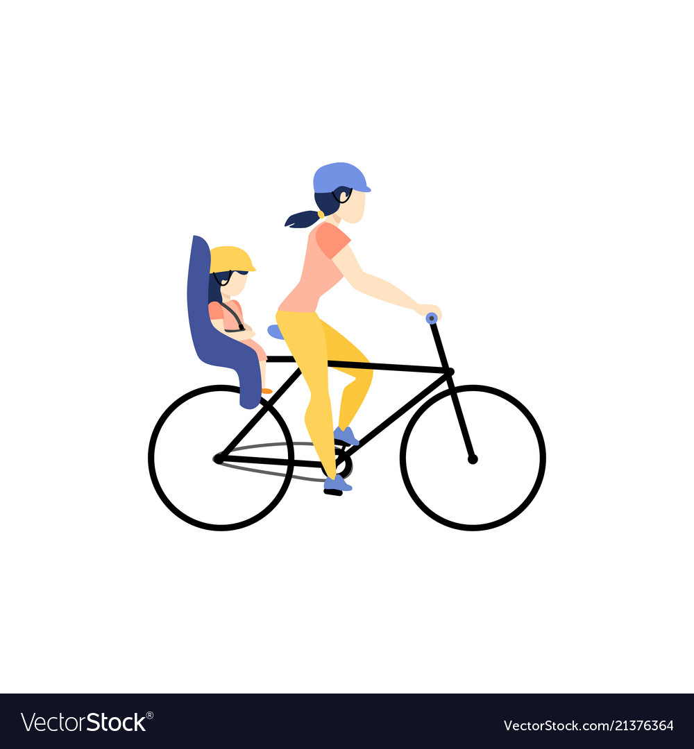 Mother riding a bike with daughter in baby seat