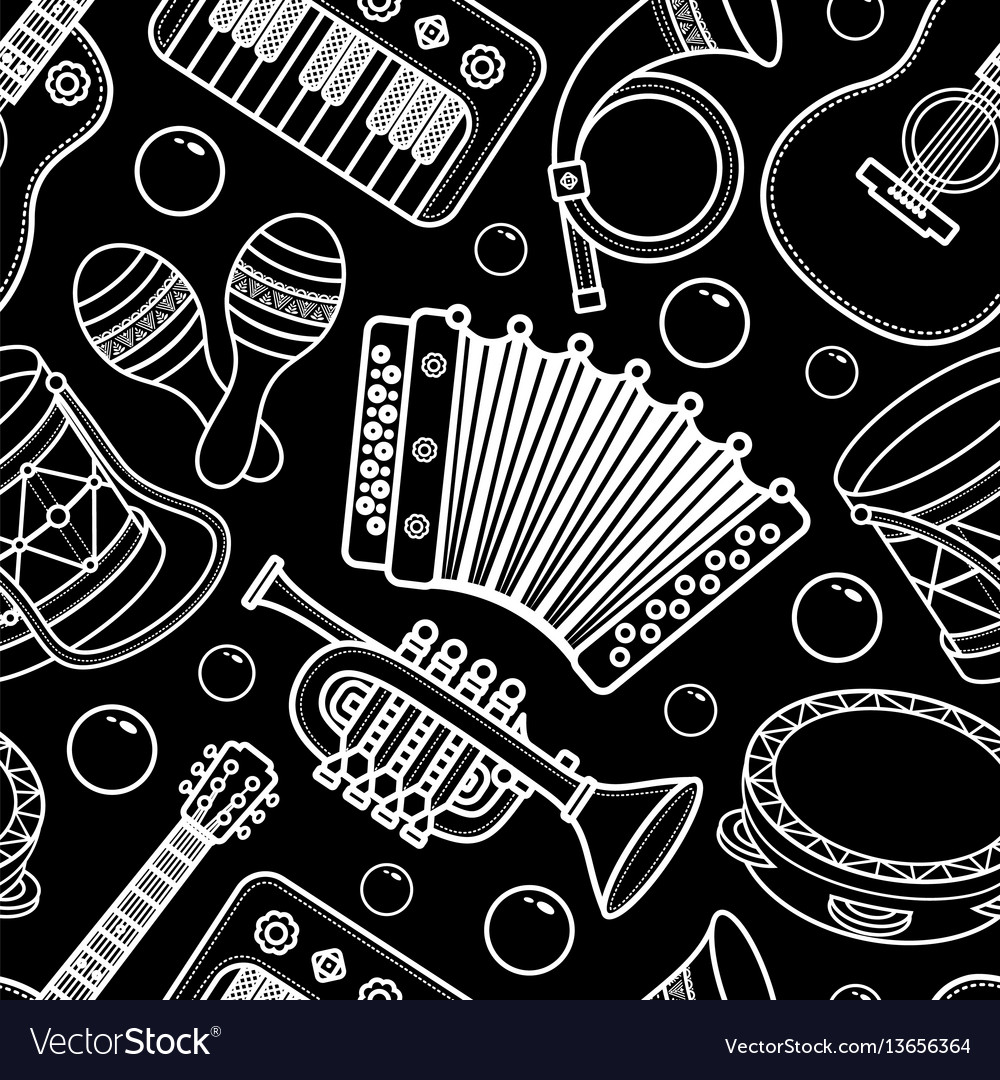 Musical instrument seamless monochrome pattern