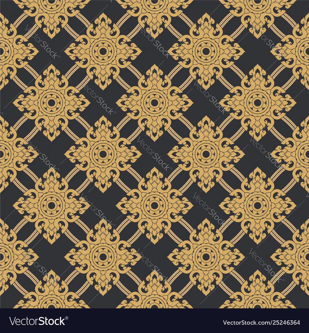 Seamless line thai gold pattern on gray