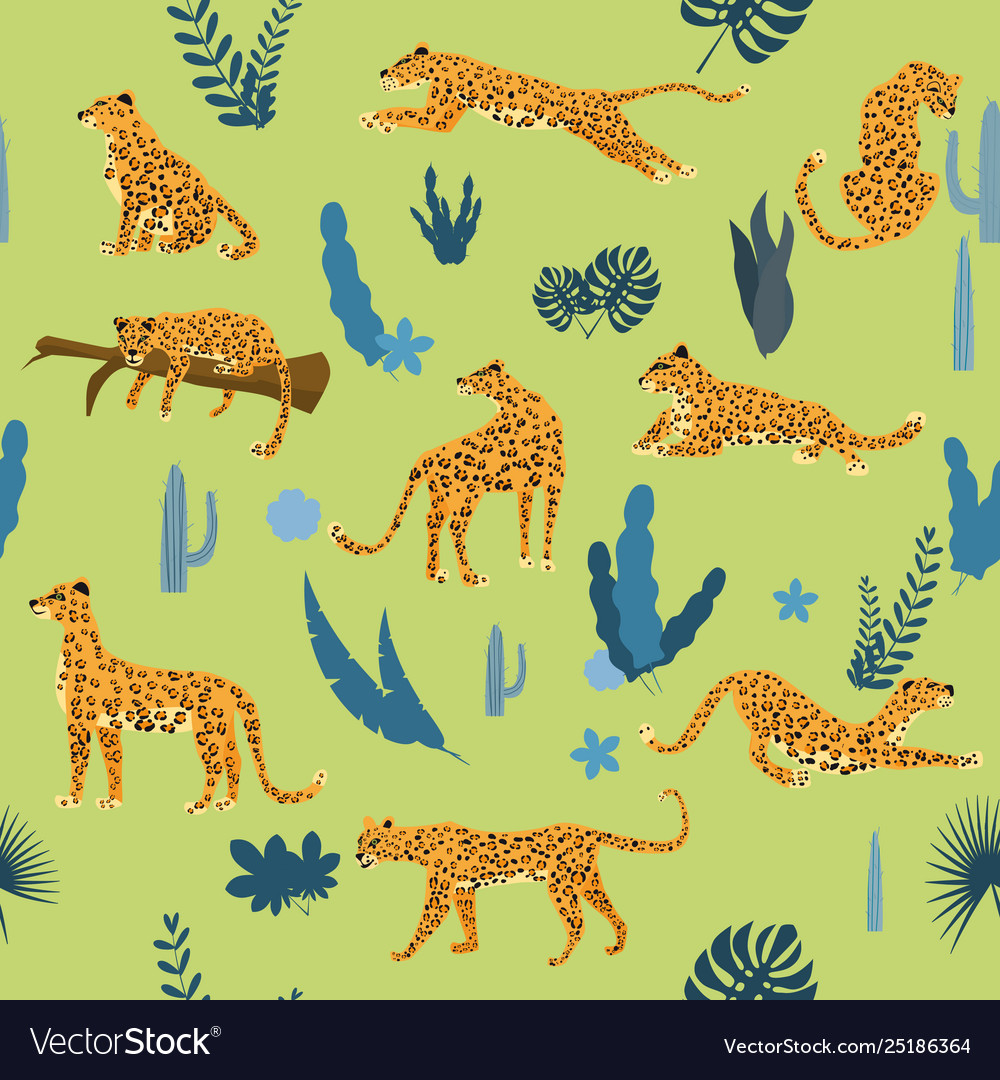 Seamless pattern with leopards in different poses