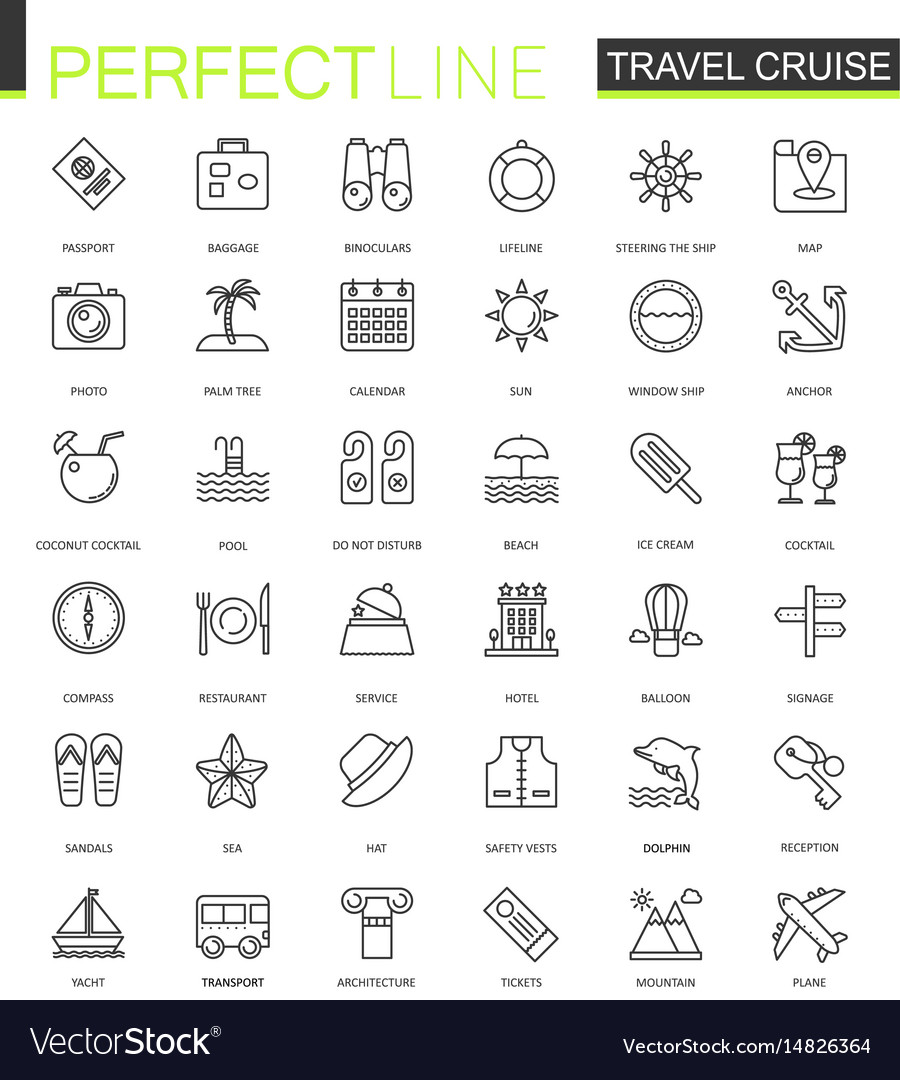 Travel cruise thin line web icons set outline