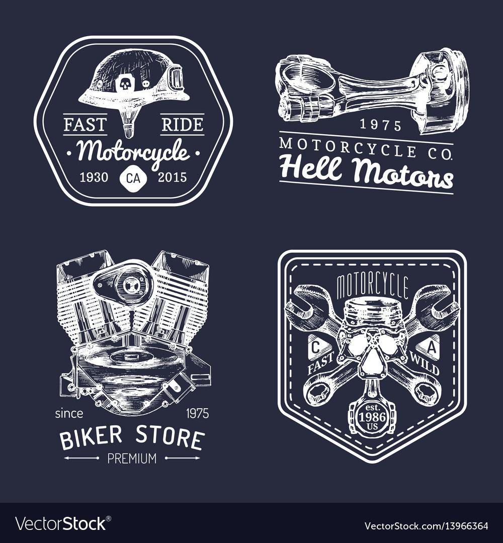 Vintage biker club signs motorcycle repair