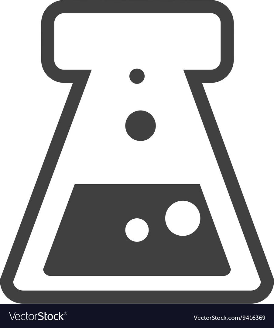 Black chemical icon with circles graphic