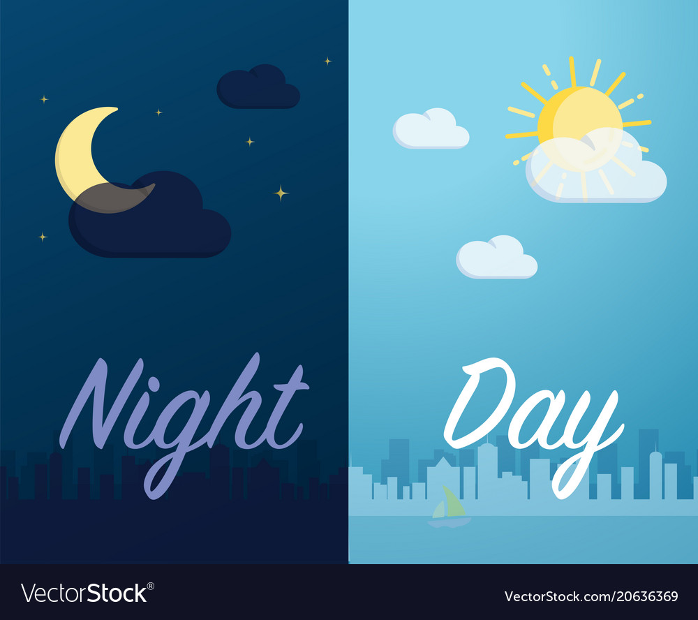 Day and night mode cityscape background and