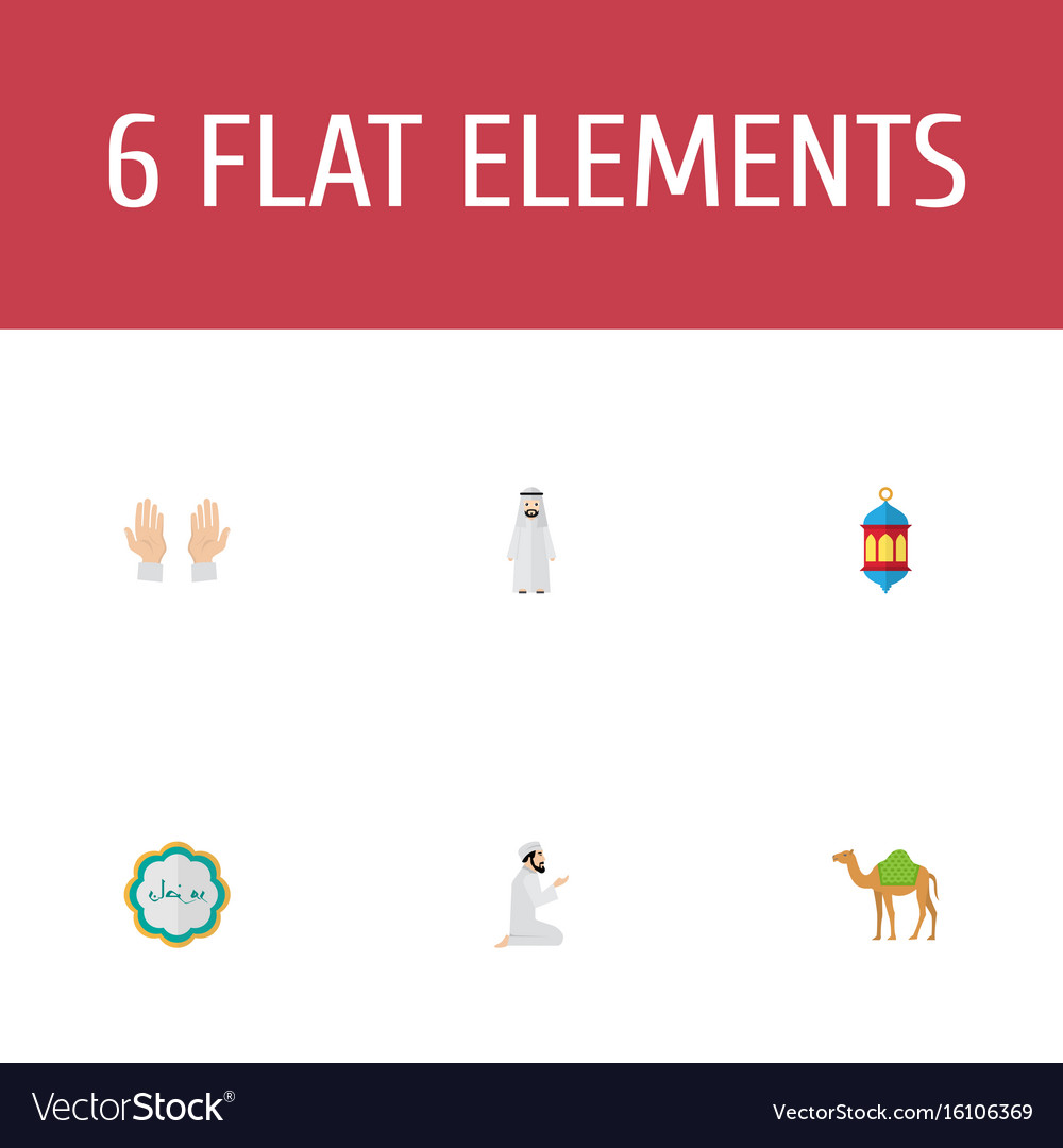 Flat icons dromedary palm decorative and other