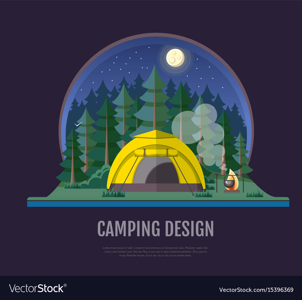 Flat style design of forest landscape and camping