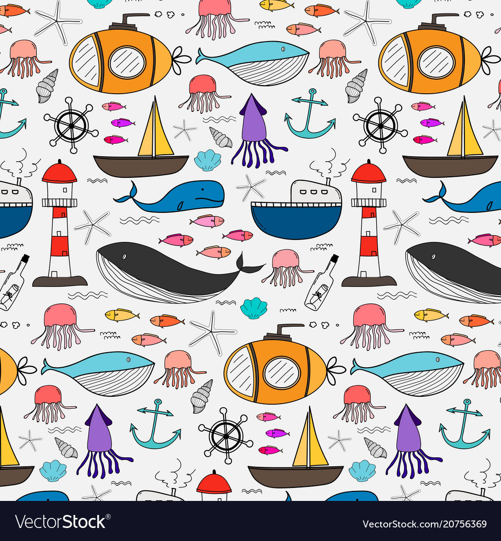 Hand drawn pattern with sea background
