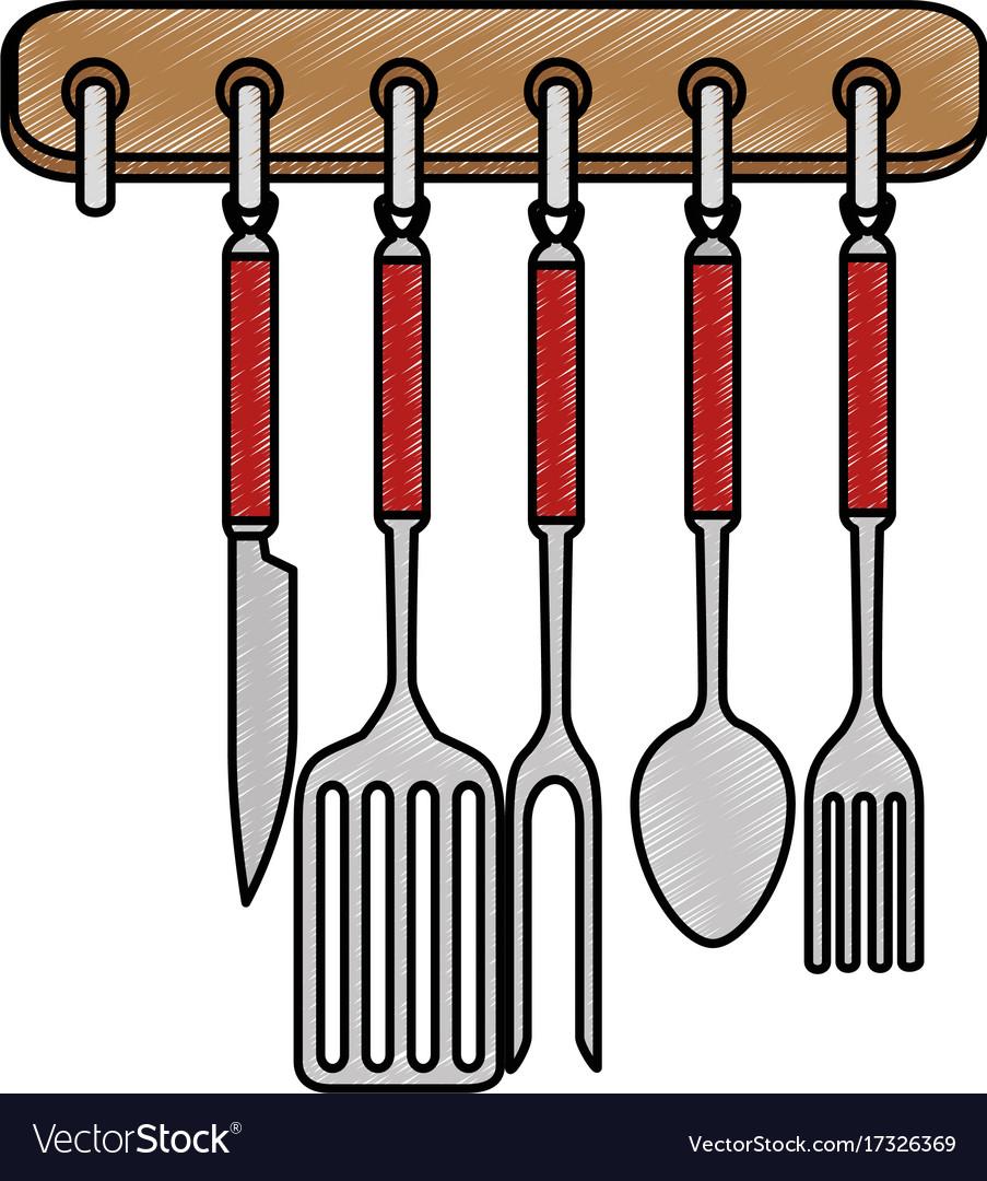 Kitchen set equipment hanging vector image