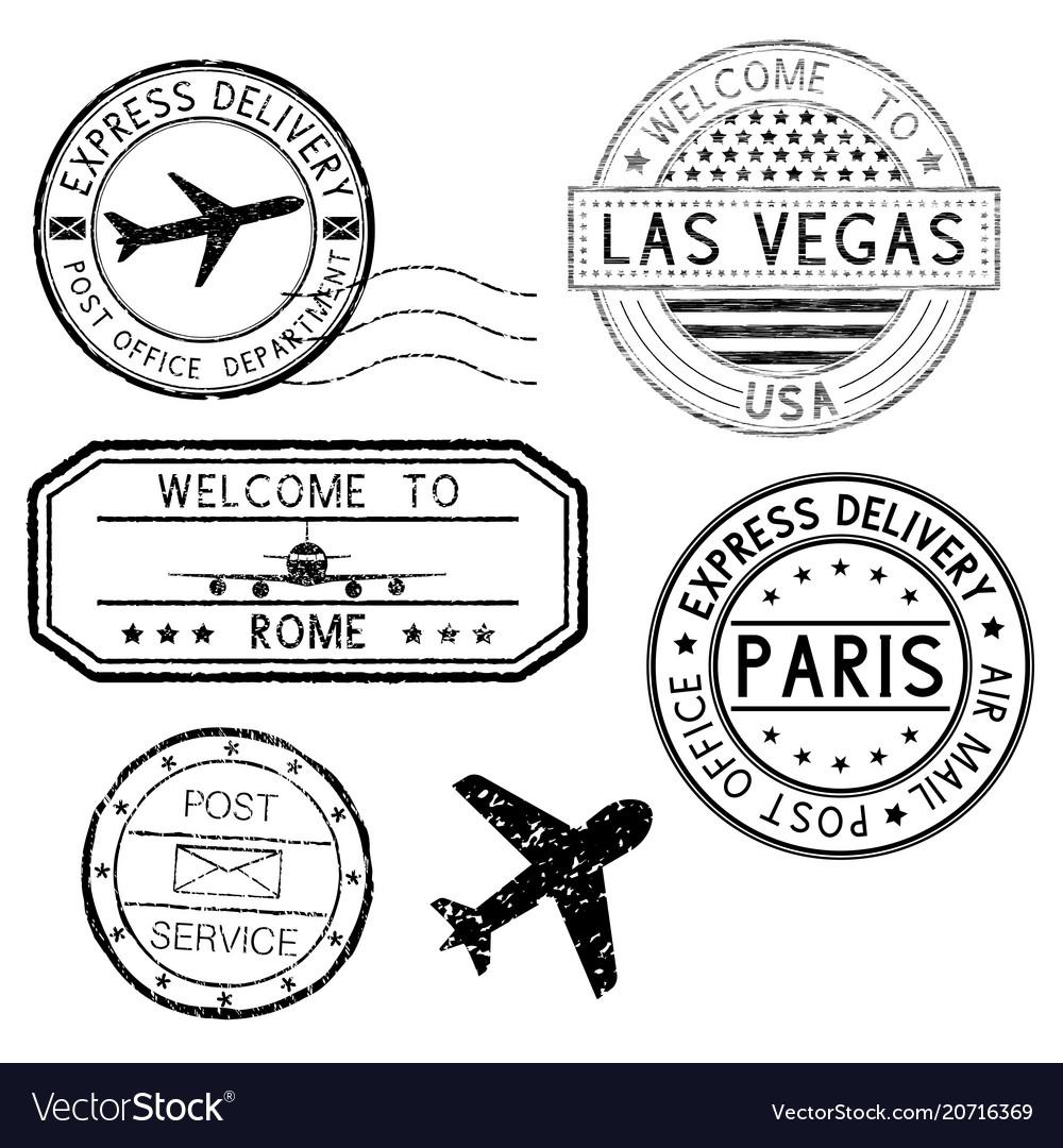 Postmarks and travel stamps plane symbol