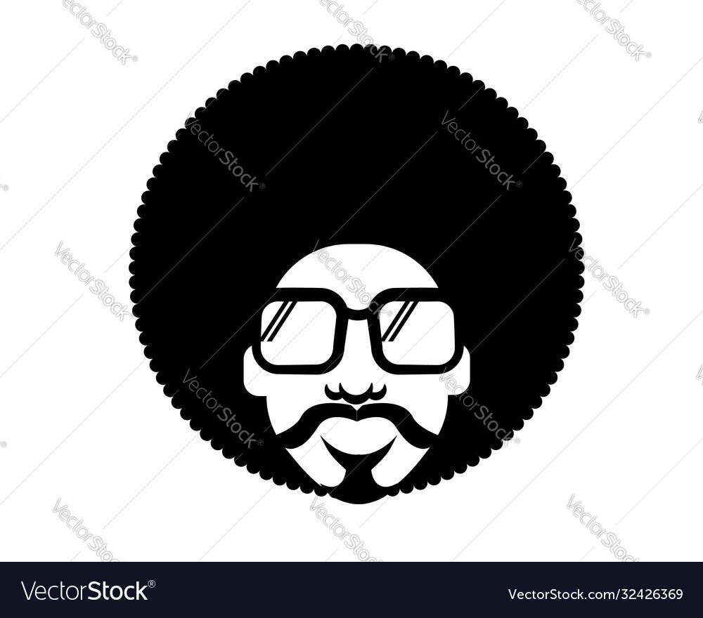 Retro disco man 70s hairstyle black silhouette