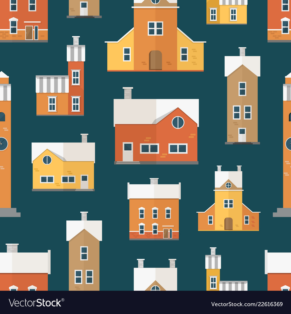 Seamless pattern with antique city buildings