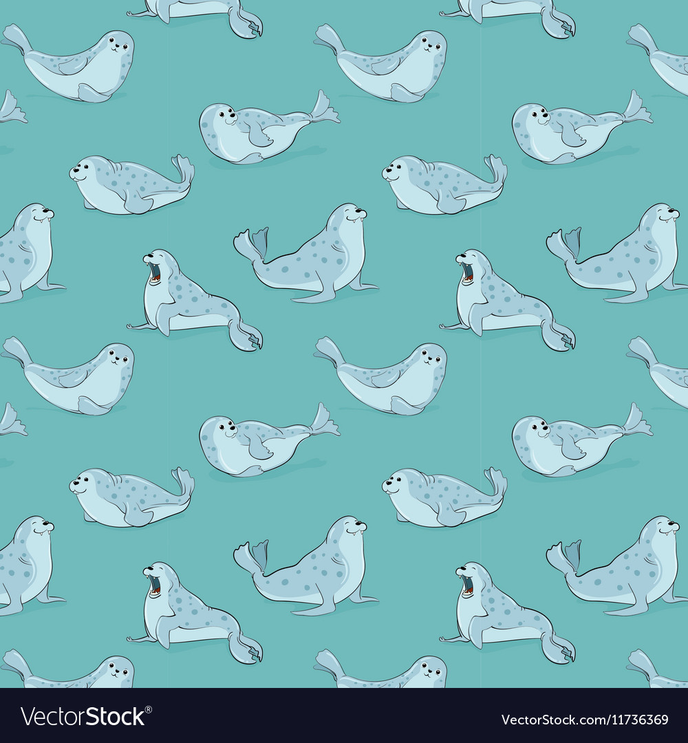 Seamless pattern with hand-drawn blue seals