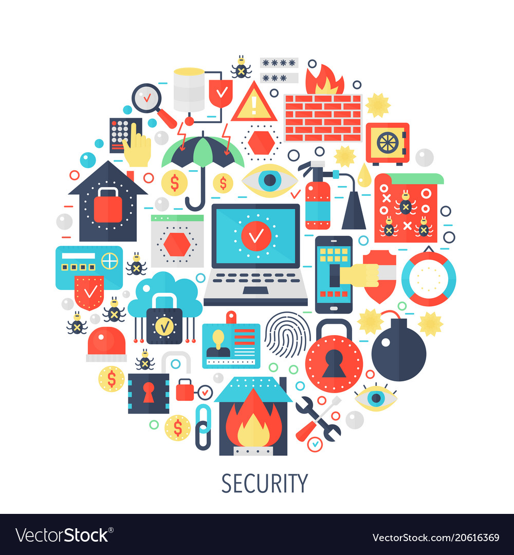 Security flat infographics icons in circle - color