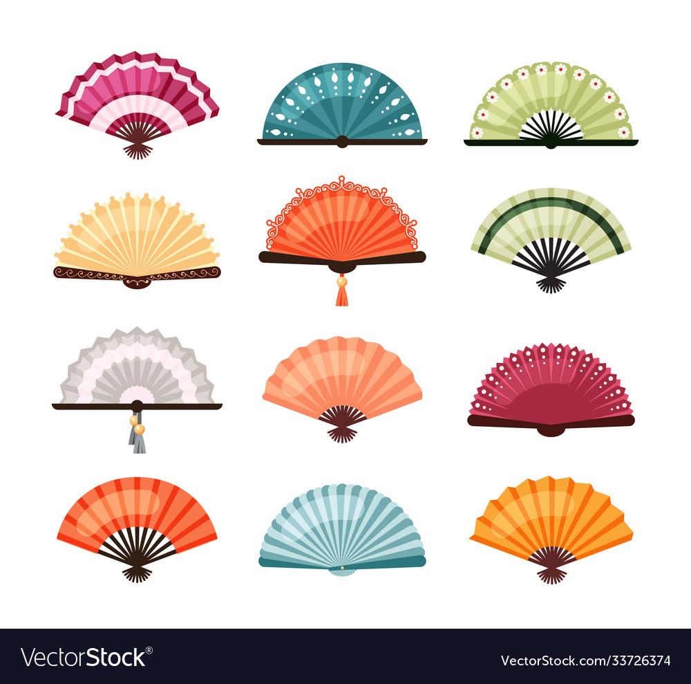 Asian fans set traditional oriental decoration