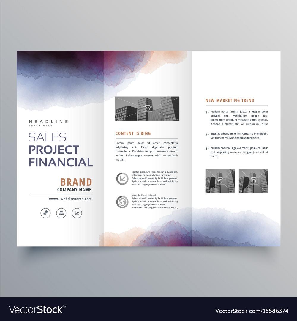 creative watercolor trifold brochure design vector image