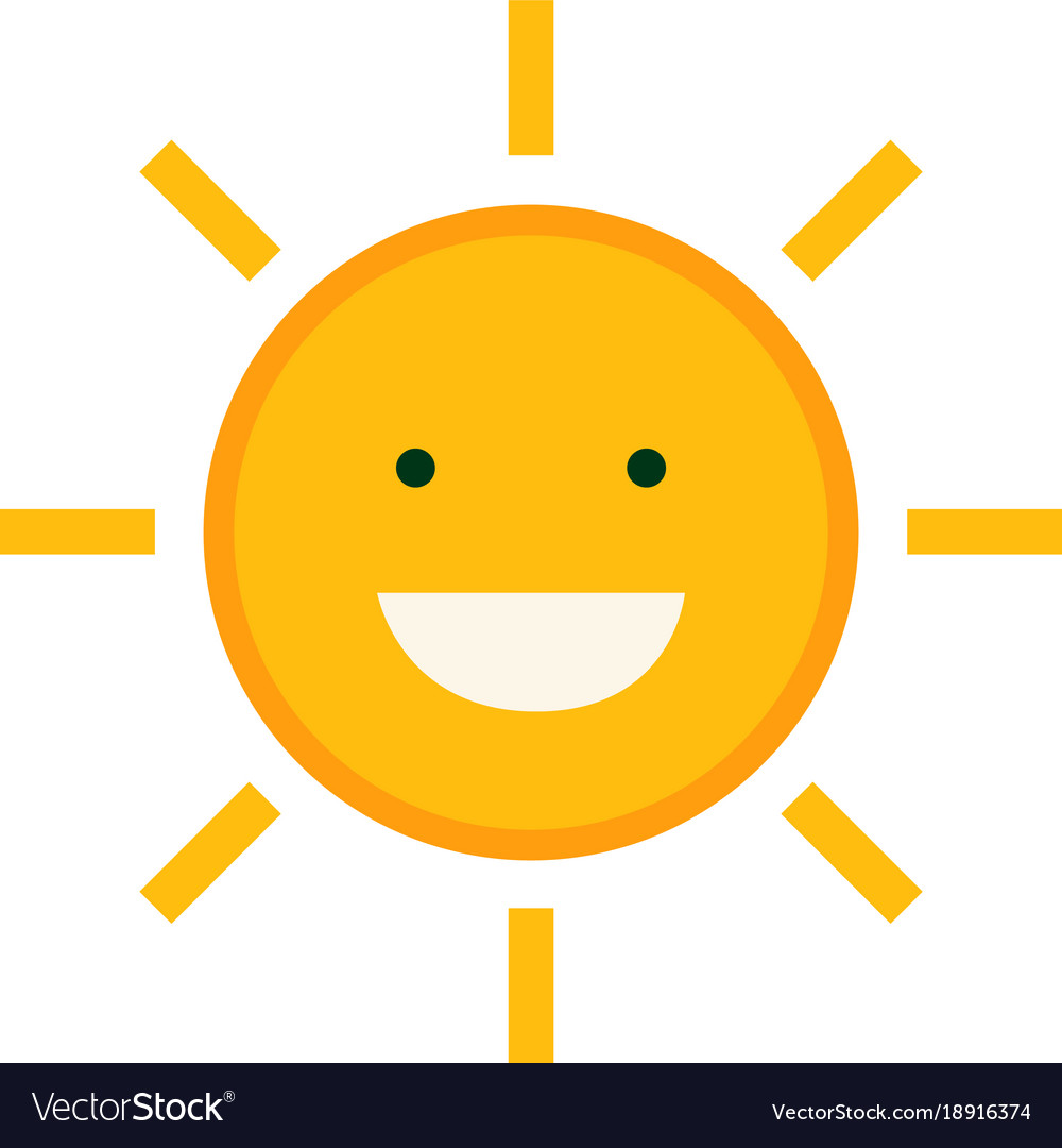 Flat cute sun character design with isolated