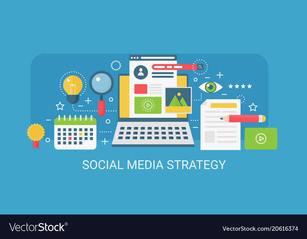 Flat Modern Concept Social Media Strategy Vector Image