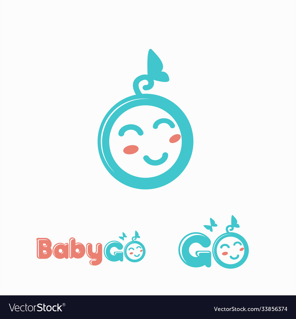 Fun and cute baby face logo icon template