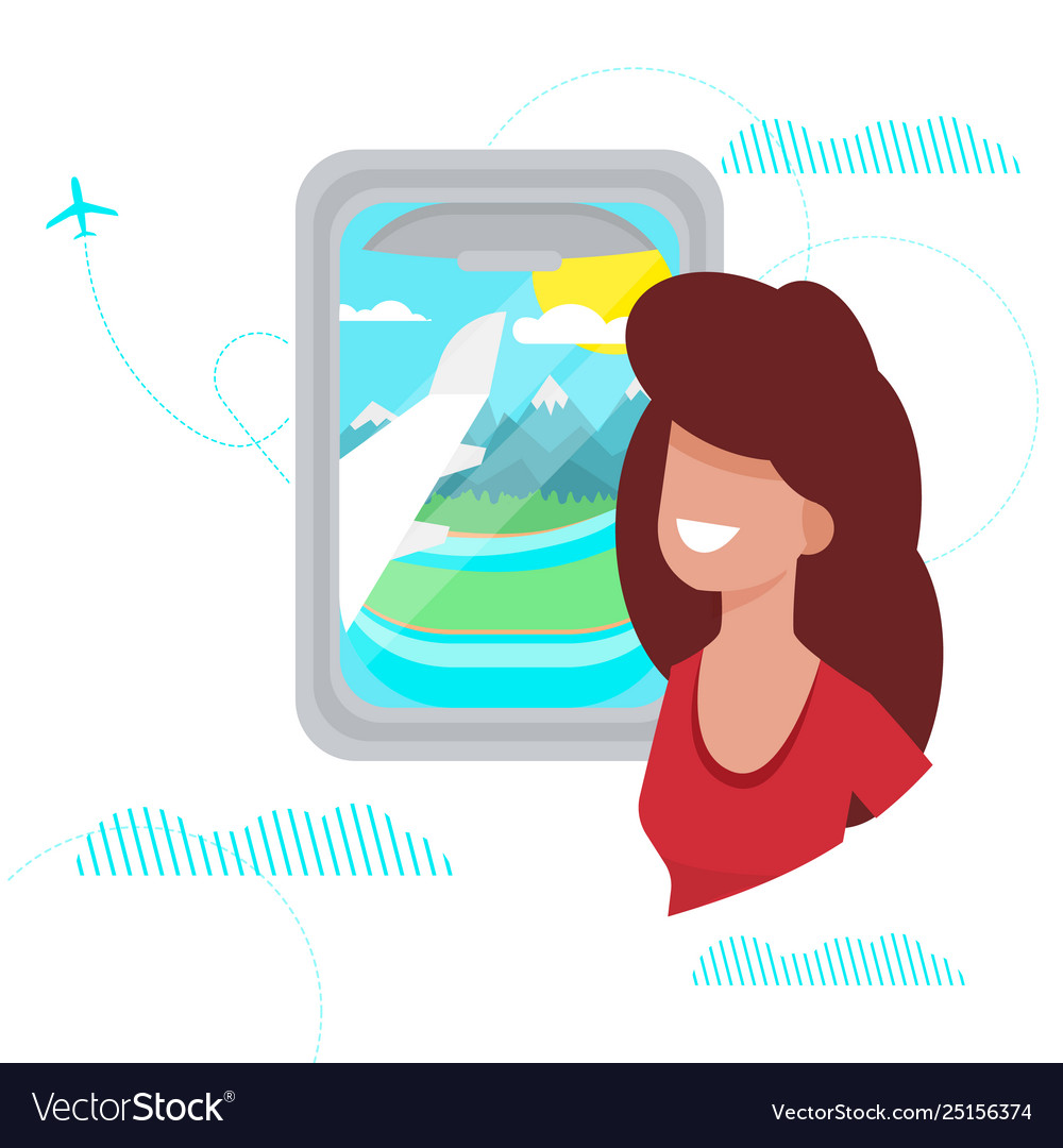Girl looks out window plane