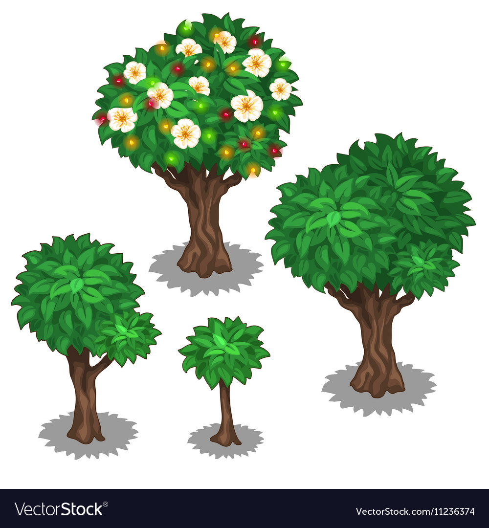 Green trees and decoration with luminous garland vector image