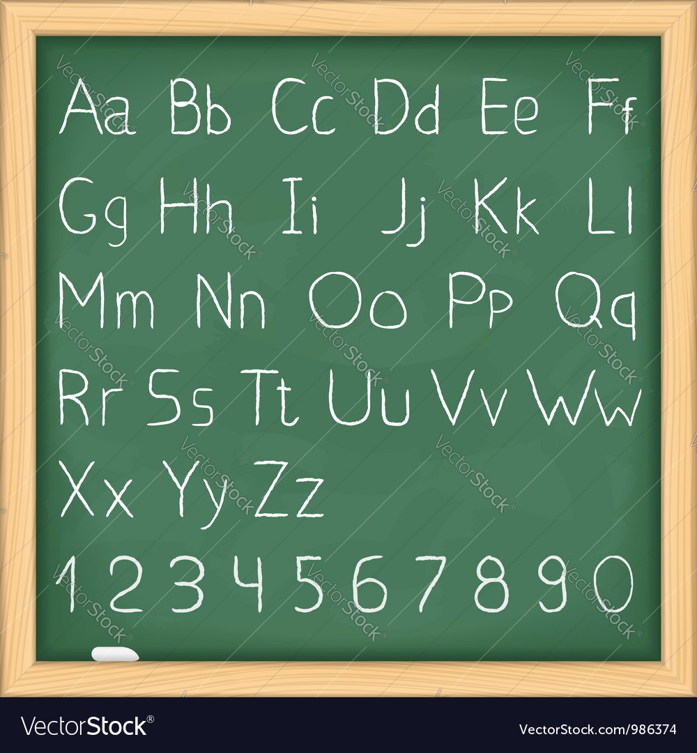 Hand drawn alphabet on blackboard