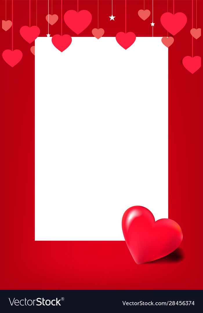 Horizontal banner with many red hanging hearts on