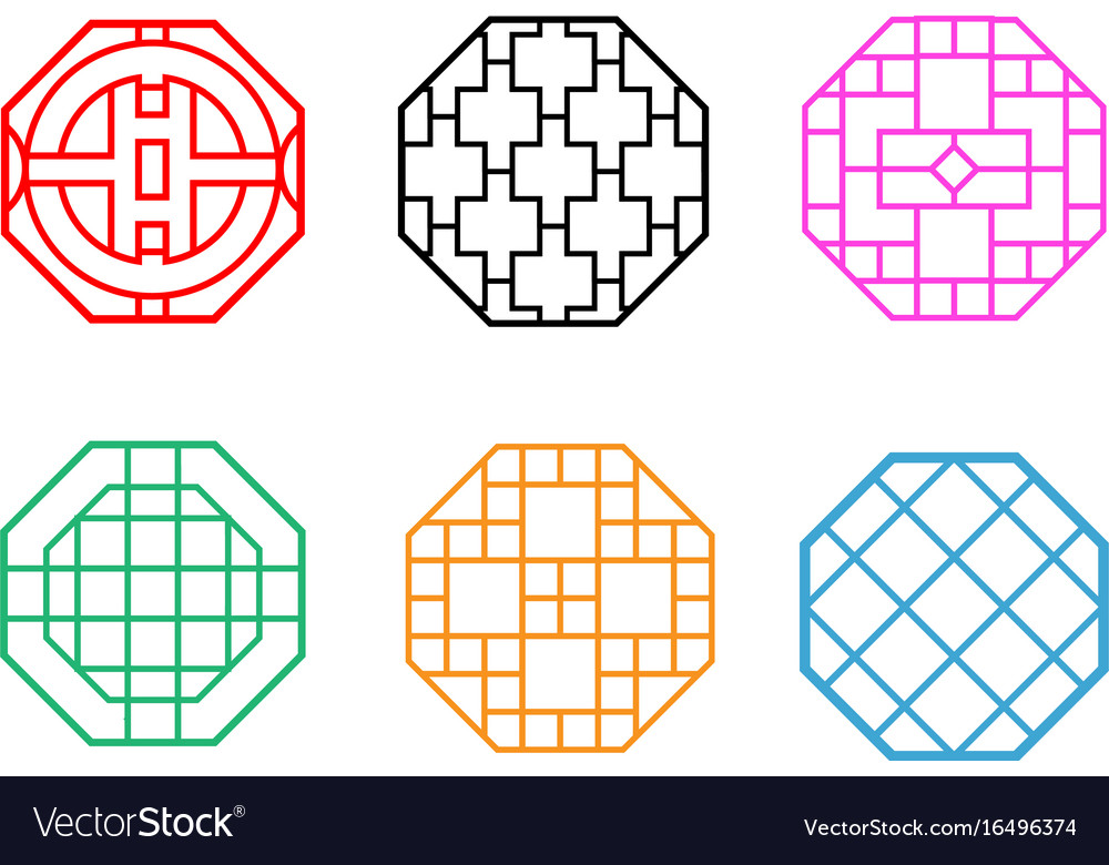 Modern hexagon korean pattern window frame Vector Image