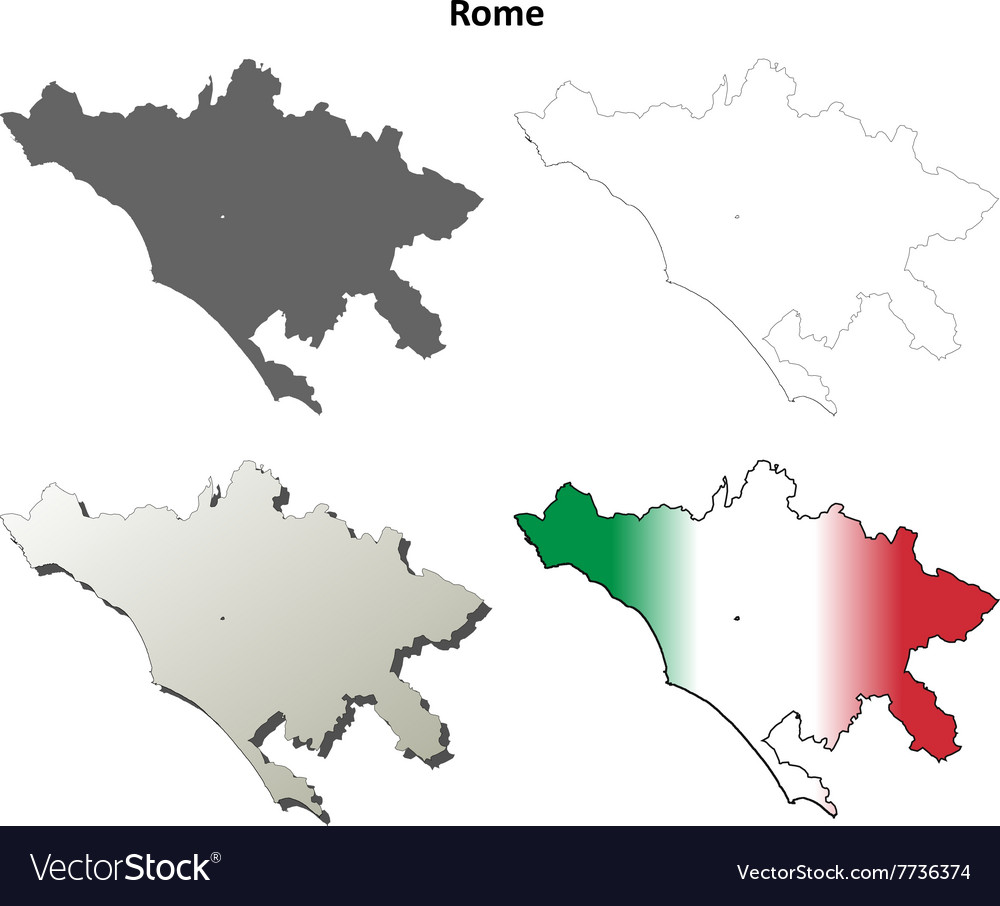 Rome blank detailed outline map set Royalty Free Vector