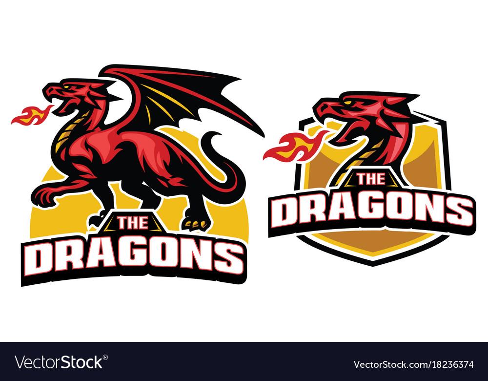 Set dragon mascot with fire breath