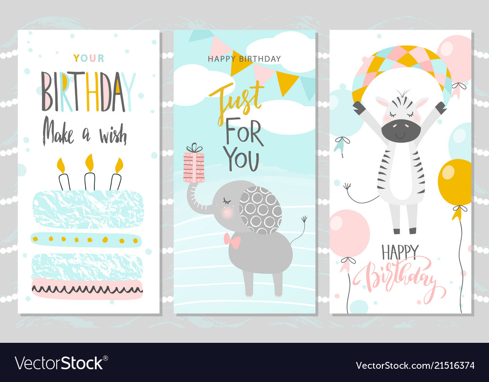 Set of birthday greeting cards and party