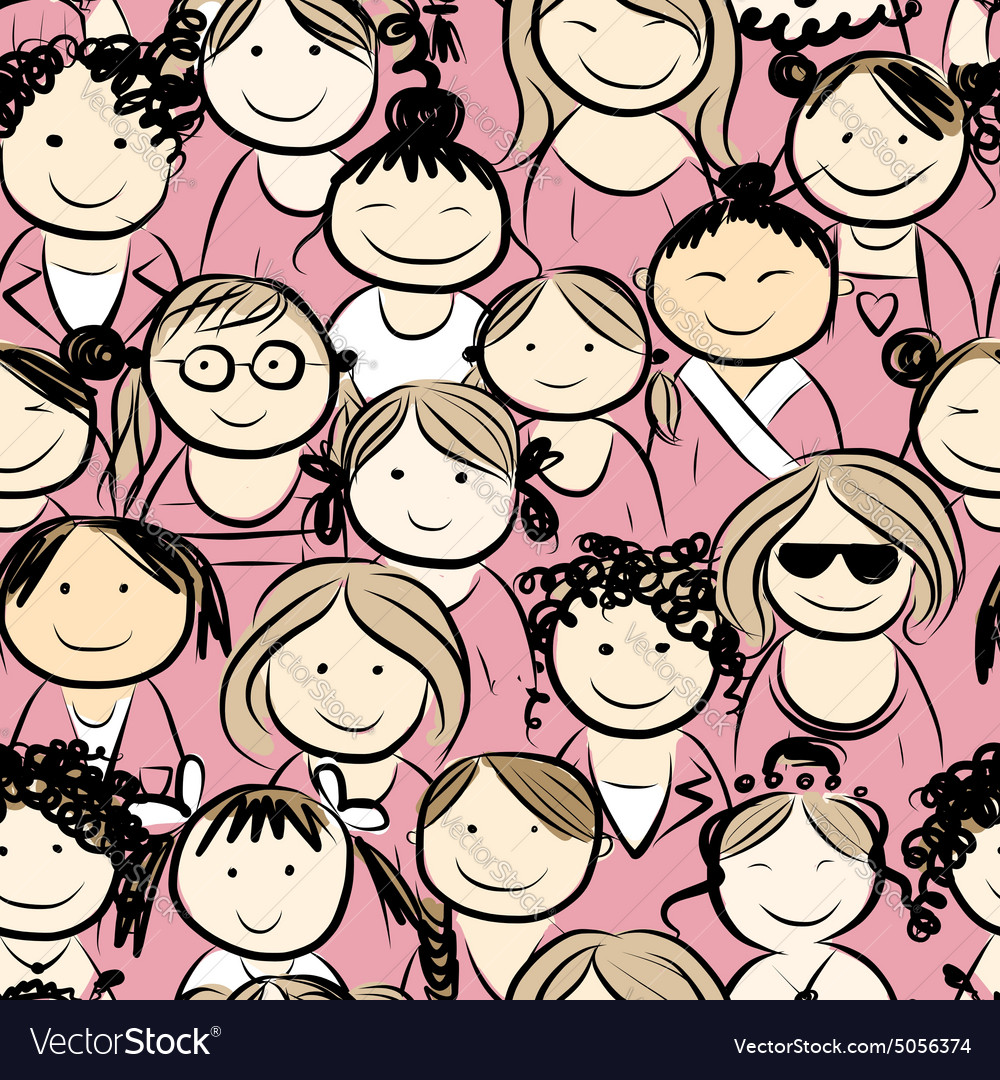 Women crowd seamless pattern for your design