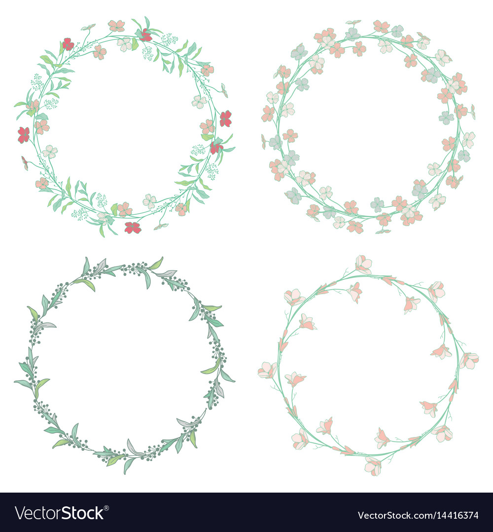 Wreaths branches laurels with herbs plants and