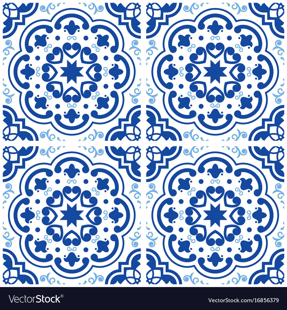 Azulejos portuguese tile floor pattern lisbon Vector Image
