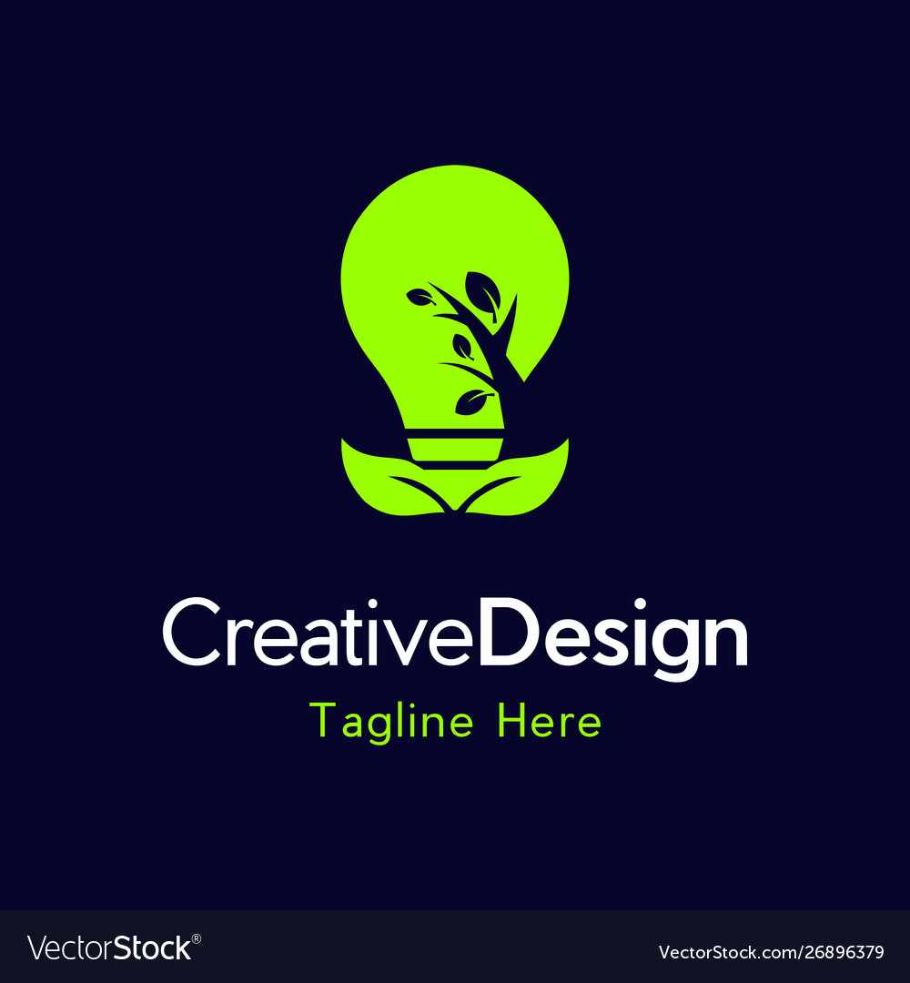 Bulb leaves energy creative business logo