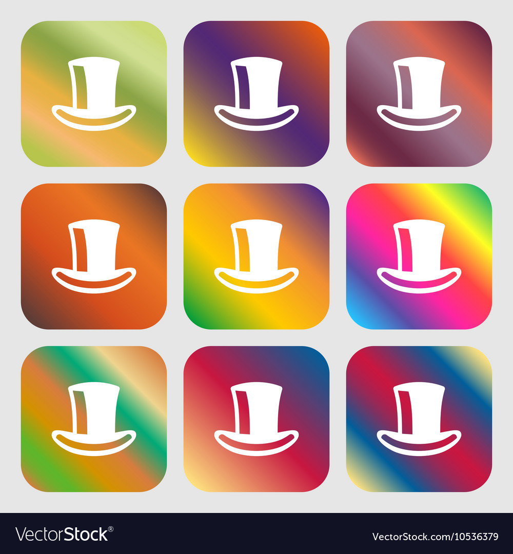 Cylinder hat icon Nine buttons with bright vector image