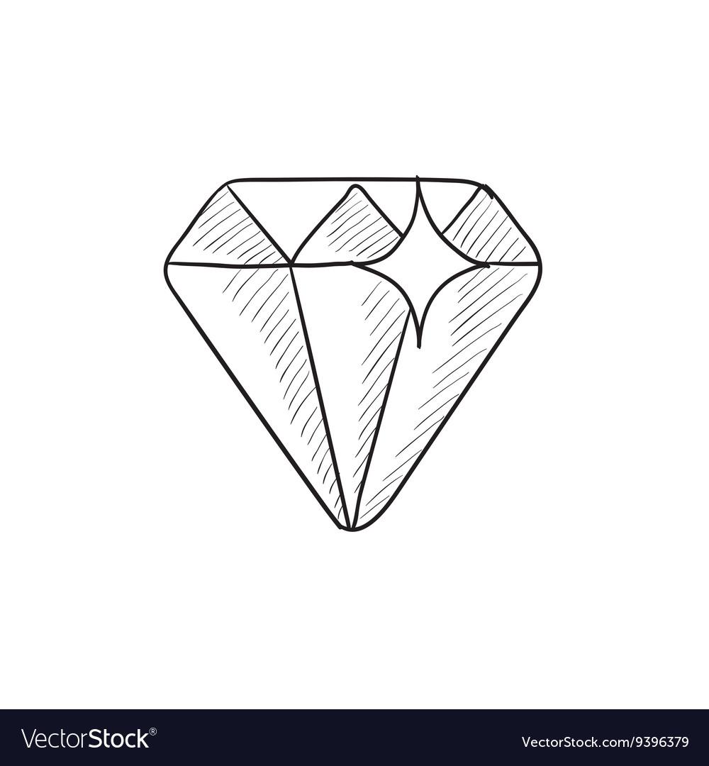 diamond sketch icon royalty free vector image vectorstock vectorstock