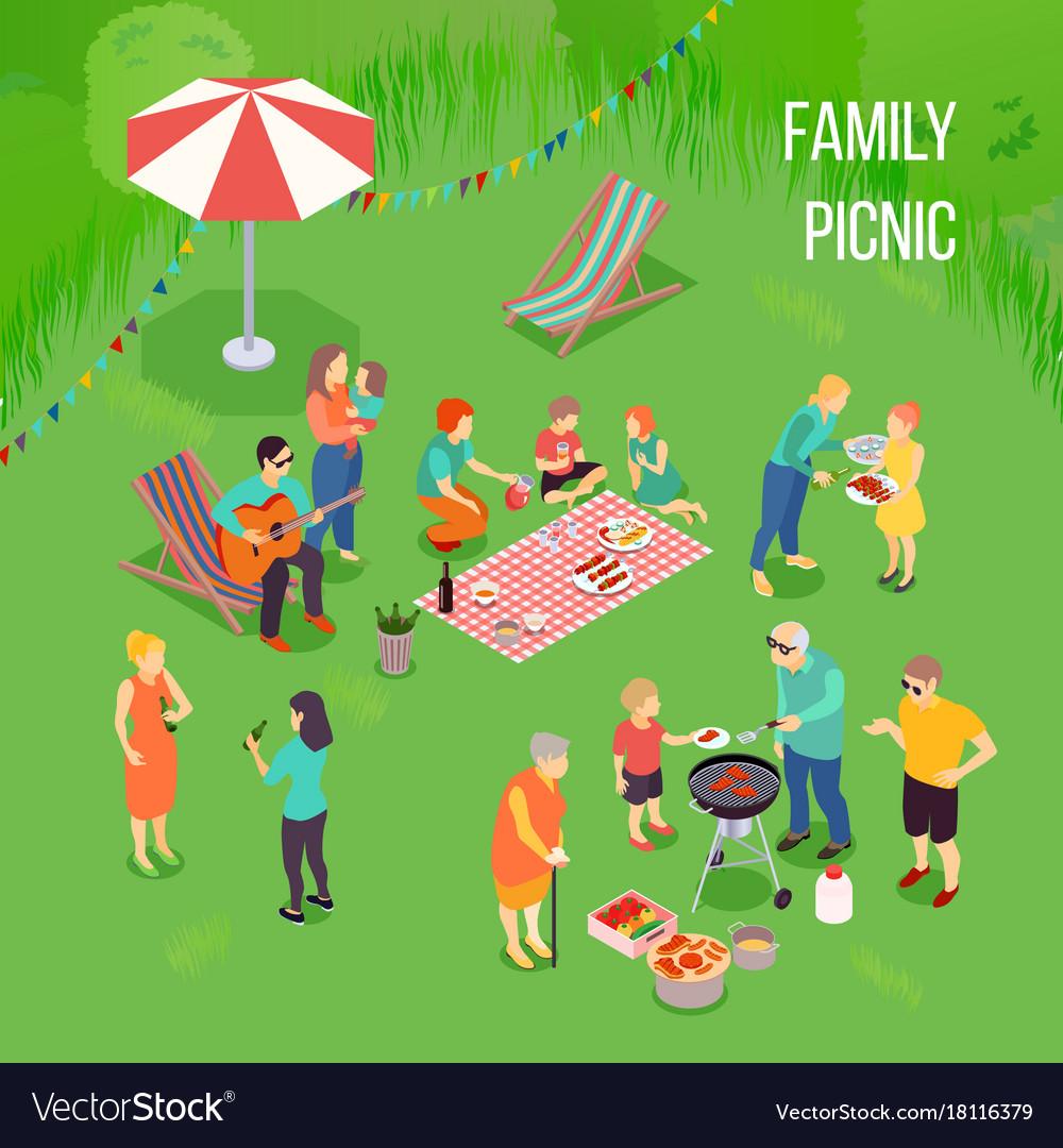 Family picnic isometric