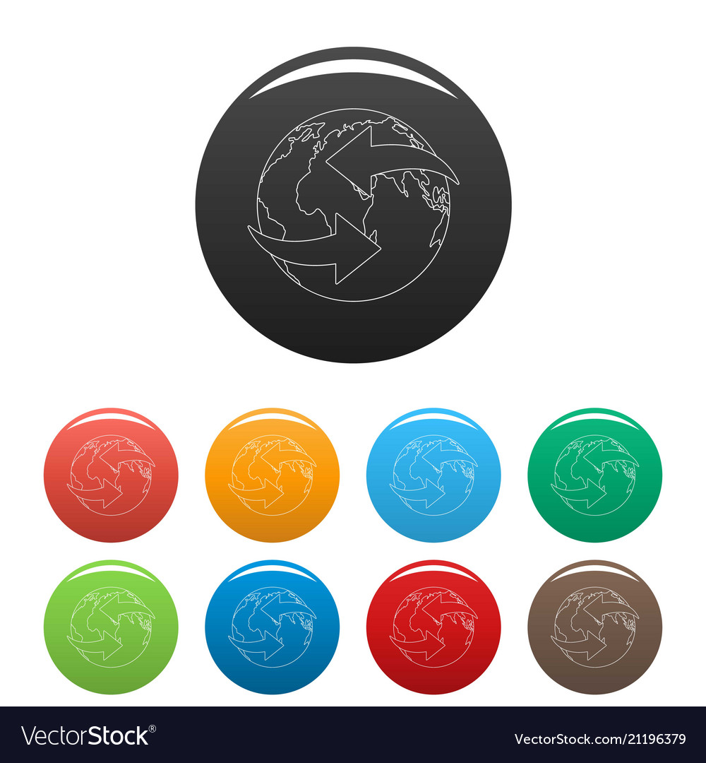 Moving earth icons set color