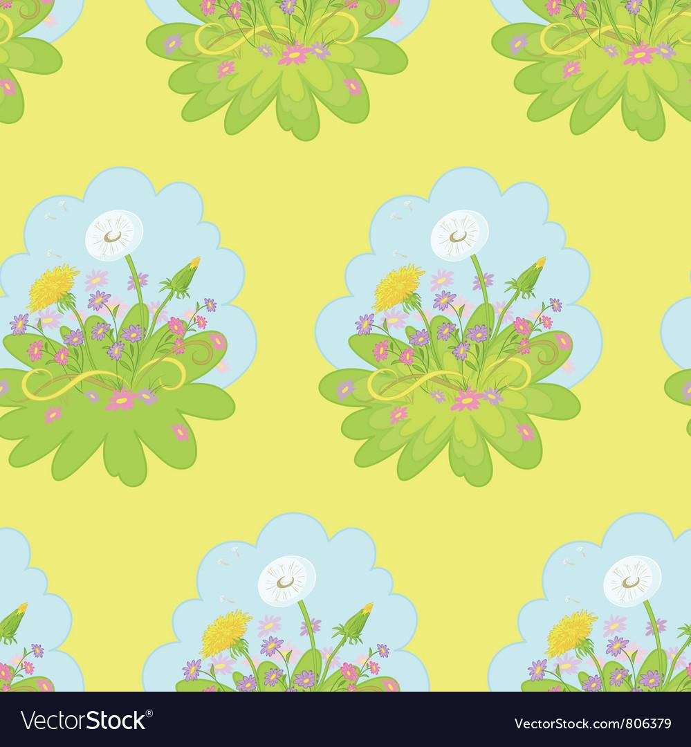Seamless background dandelions flowers